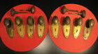 LOT OF 12 ANTIQUE BEADED OVAL METAL DOOR KNOBS 8 KEYHOLE BACKPLATES 4 SPINDLES !