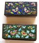2 Antique Chinese Hand Painted Cloisonne' Enamal Metal Stamp Boxes Roses Asian