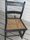 Vintage Shaker Style Child's Rocking Chair Cane Bottom Ladder Back Black Painted