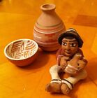 Miniature Vintage  Southwest Red Clay Figure  and Vase and a Bowl