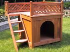 Wooden Doghouse Dog House Indoor Outdoor Puppy Condo Cat Perch Pet Home Kitty Up
