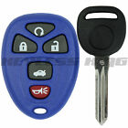 New Blue Replacement Keyless Entry Remote Start Key Fob Clicker + Uncut Key