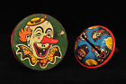 2 VINTAGE CLOWN TIN PARTY NOISE MAKERS by METAL TOYS CO.