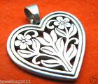 James Avery Retired Openwork Heart Pendant with Flowers 1.25