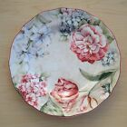 222 Fifth DESIREE DINNER PLATE Pink Ivory Scalloped Floral Tulips Dahlias Lilies