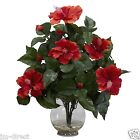 Beautiful Red Hibiscus w/Fluted Vase - Silk Flower Arrangement - Free Shipping