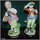 Pair of Meissen-style Porcelain Boy & Girl figurines - circa 19th century