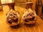 2 Antique Japan Ceramic Shadow Box Carved Vases