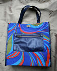 Vintage 1970s blue swirl tote bag canvas and vinyl psychedelic