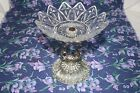 Vintage Candy Dish Silver Plate Swan Base Glass Bowl Pointed Rim