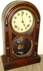 RARE ANTIQUE JAPAN DORIC KEY WIND CHIMING WOOD GLASS BRASS MANTLE CLOCK PROJECT!