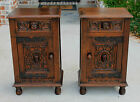 Antique English Oak GOTHIC Pair Matching End Tables Nightstands Side Cabinets