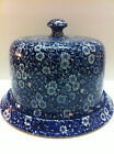 Calico Blue Floral Crownford China Round Cheese Dish & Lid Staffordshire