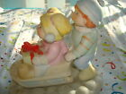 VINTAGE 1984 CABBAGE PATCH DOLL CERAMIC FIGURINE  RARE Boy/Girl Sledding