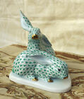 Herend Green Fishnet Rabbits / Bunnies 1976 - 150th Anniversary - #5337 Signed