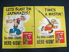 Popeye & Snuffy Buy WAR STAMPS POSTERS TIME'S A WASTIN LET'S BLAST EM  JAPANAZIS