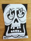 WACKY PACKAGES 2014 SHAPED SKETCH CARD MARK PARISI HEAD  SMOLDERS SKULL SIGNED
