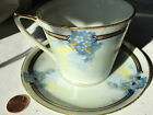EO-H NIPPON VIOLETS ANTIQUE HAND-PAINTED PORCELAIN CHINA TEA CUP W/SAUCER-JAPAN