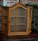 Antique French Oak Bonnet Top Wall Shelf Vitrine Curio Glass Display Cabinet #3