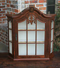 Antique French Burl Walnut Bonnet Top Wall Shelf Curio Glass Display Cabinet #5