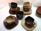 Franciscan Metropolitan 7 Cups and Saucers Brown Oxblood Creme/Coral Coupe VF