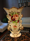 Gold Antique Eton China Vase-Hand Painted Roses signed by F.A.B.