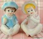 `BOY and GIRL FIGURINES Sunbonnet Bisque Porcelain Blue Pink Tall 6 3/4