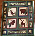 A WOLF, BEAR, MOOSE AND DEAR ANIMAL WILDERNESS FLANNEL FABRIC PANEL