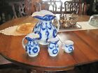 4 PIECES FLOW BLUE PITCHER ,SAVOY ROYAL SEMI-PORCELAINE, WOOD & SONS, ENGLAND