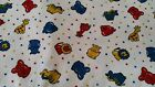 FABRIC Cotton Baby Animal Nursery Elephant Giraffe Hippo On White 58
