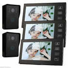 Three 7 Inch TFT LCD Video Door Phone Touch key 2x Water proof Outdoor IR Camera
