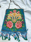 Antique beaded purse with chain and floral pattern, 1920s-30s, true vintage,