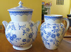 Striking Antique Blue White Ironstone Covered Bucket & Pitcher Powell Bishop GEM