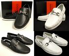 Mens GIOVANNI black white faux leather casual slip on boat shoes style M788 5