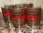 7 VTG SEASONS GREETINGS CHRISTMAS DOUBLE OLD FASHIONED COCKTAIL GLASS  TUMBLERS