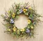 New PANSY BERRY WREATH Flowers Vine Twig Swag Primitive French Country Spring