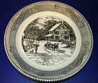 Royal China Currier & Ives Black Pie Baker Dish Pan Homestead in Winter 10