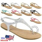 NEW Womens T Strap Thong Gladiator Strappy Braided Flat Flip Flop Sandals