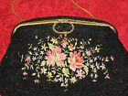 Vintage black beaded floral design evening bag-Gorgeous!