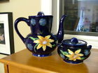 Vintage MOORECROFT inspired cobalt blue teapot & sugar bowl with lids