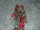 Antique Style Porcelain Doll with bendable arms & legs - burgundy/green - 12