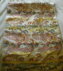 Beautiful Hand-Embroidered Brocade Japanese Silk Obi Fabric 160 x 34 Inches