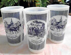 VINTAGE CURRIER & IVES KNOWLES ROYAL CHINA BLUE WHITE MILK GLASS TUMBLERS LOT 3