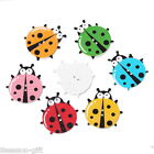50PCs Wooden Buttons Beetle Shaped Mixed Color 2 hole Sewing Scrapbook DIY