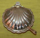 Vintage Sheffield England Silver Plate Clam Shell Butter Dish with Knife