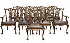 FINE SET OF 12 19TH CENTURY CHIPPENDALE INSPIRED CARVED MAHOGANY DINING CHAIRS