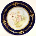 Antique Hand Painted Sevres Decorative Gold Jeweled Rim Plate NR
