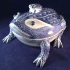 Blue And White Frog Covered Tureen Box Serving Dish Bowl Antique 1900-1940 China