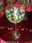 Vintage Lot of 4 HandPainted Holly & Berry All Purpose Goblets Block Crystal W/B