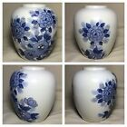 Vintage Japan Porcelain Vase - Blue and White Floral Flowers Japanese Excel Cond